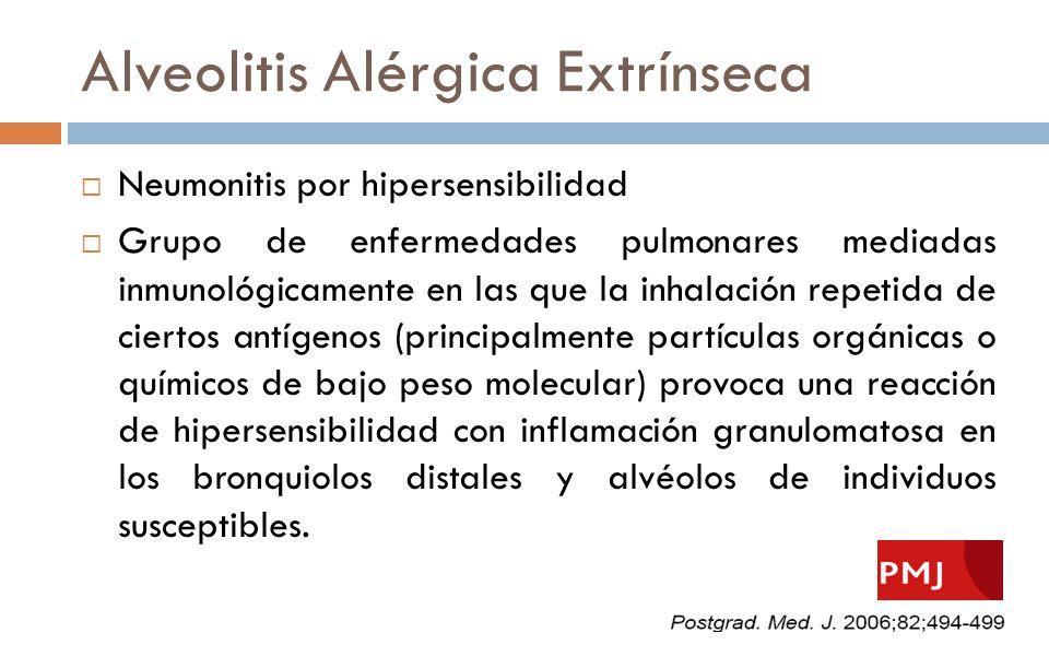 Alveolitis Alérgica Extrínseca Neumonitis por hipersensibilidad Grupo de enfermedades pulmonares mediadas inmunológicamente en las que la inhalación r