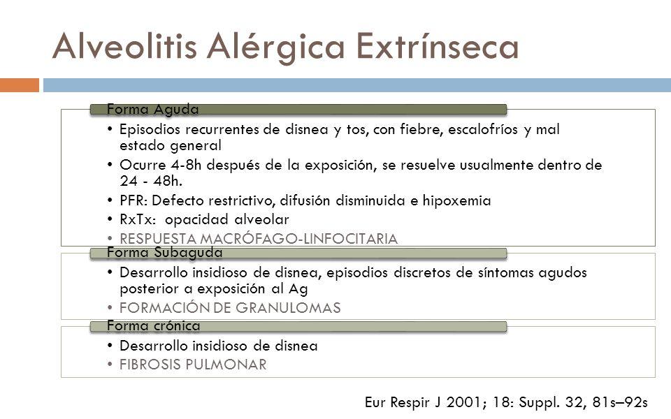 Alveolitis Alérgica Extrínseca Episodios recurrentes de disnea y tos, con fiebre, escalofríos y mal estado general Ocurre 4-8h después de la exposició