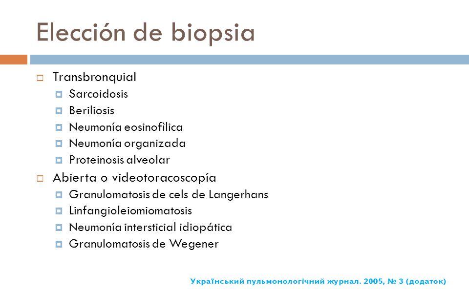 Elección de biopsia Transbronquial Sarcoidosis Beriliosis Neumonía eosinofìlica Neumonía organizada Proteinosis alveolar Abierta o videotoracoscopía G