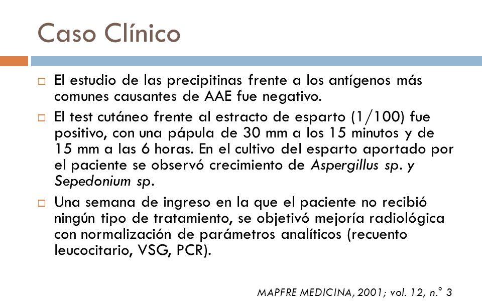 Caso Clínico El estudio de las precipitinas frente a los antígenos más comunes causantes de AAE fue negativo. El test cutáneo frente al estracto de es