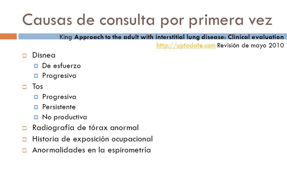 Fibrosis Pulmonar Idiopática Características Lóbulo inferior, predominancia subpleural Inflamación intersticial leve con fibrosis Cicatrización crónica con distorsión arquitectural y «panal de abeja»