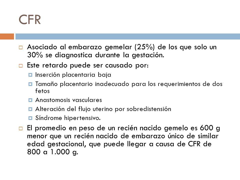 CFR Asociado al embarazo gemelar (25%) de los que solo un 30% se diagnostica durante la gestación. Este retardo puede ser causado por: Inserción place