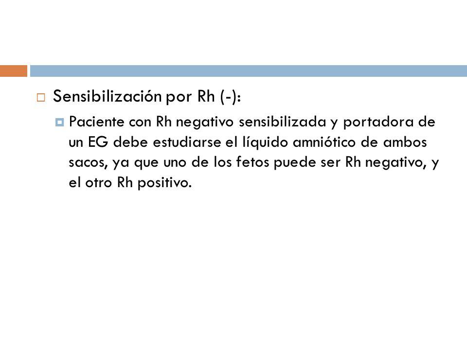Sensibilización por Rh (-): Paciente con Rh negativo sensibilizada y portadora de un EG debe estudiarse el líquido amniótico de ambos sacos, ya que un