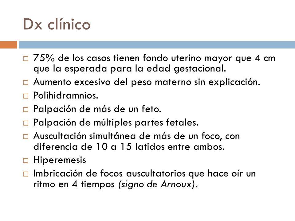 Dx clínico 75% de los casos tienen fondo uterino mayor que 4 cm que la esperada para la edad gestacional. Aumento excesivo del peso materno sin explic