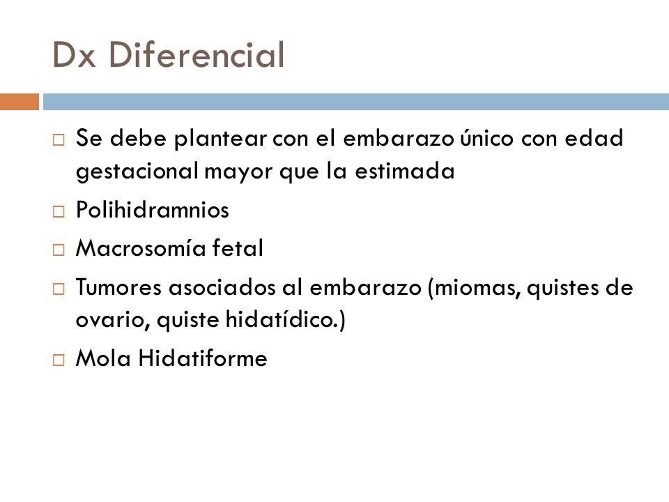 Dx Diferencial Se debe plantear con el embarazo único con edad gestacional mayor que la estimada Polihidramnios Macrosomía fetal Tumores asociados al