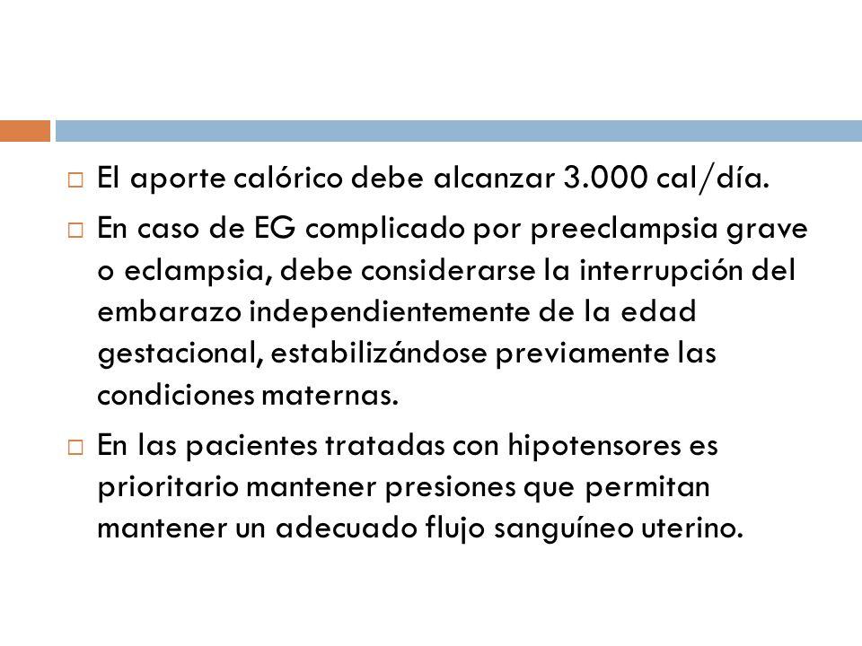 El aporte calórico debe alcanzar 3.000 cal/día. En caso de EG complicado por preeclampsia grave o eclampsia, debe considerarse la interrupción del emb