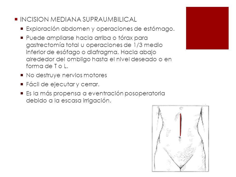 INCISION MEDIANA SUPRAUMBILICAL Exploración abdomen y operaciones de estómago. Puede ampliarse hacia arriba o tórax para gastrectomía total u operacio