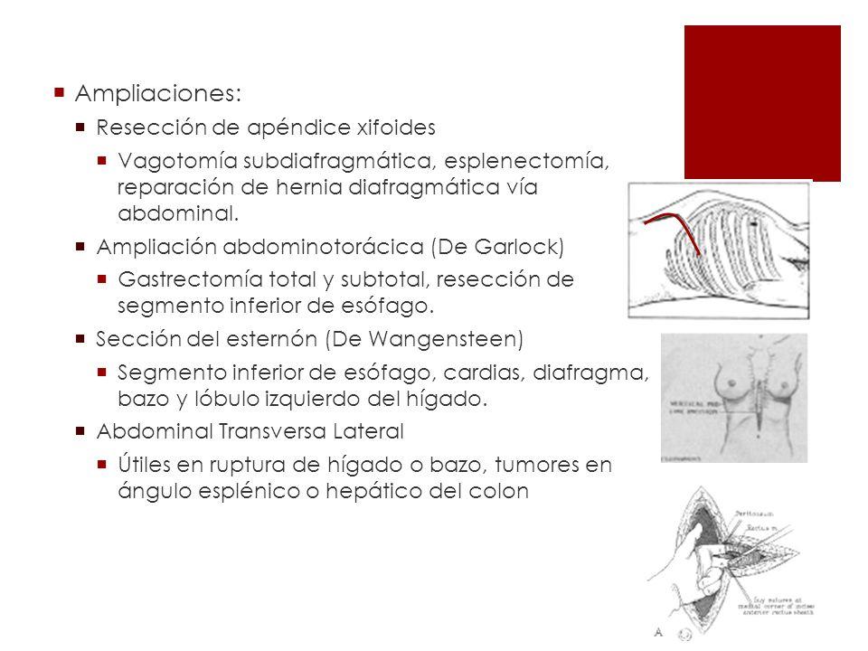 Ampliaciones: Resección de apéndice xifoides Vagotomía subdiafragmática, esplenectomía, reparación de hernia diafragmática vía abdominal. Ampliación a