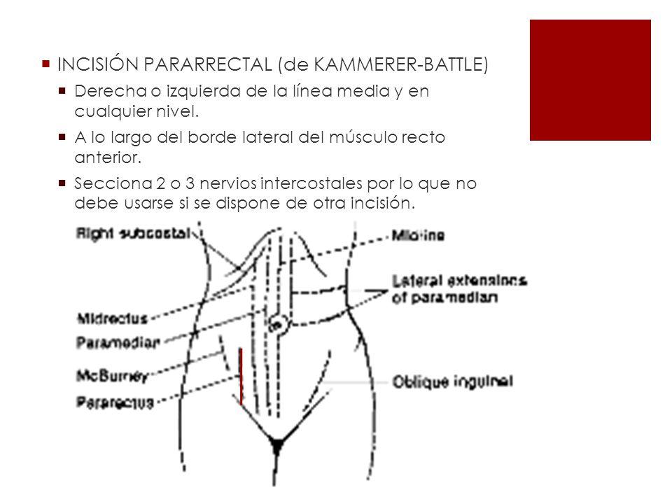 INCISIÓN PARARRECTAL (de KAMMERER-BATTLE) Derecha o izquierda de la línea media y en cualquier nivel. A lo largo del borde lateral del músculo recto a