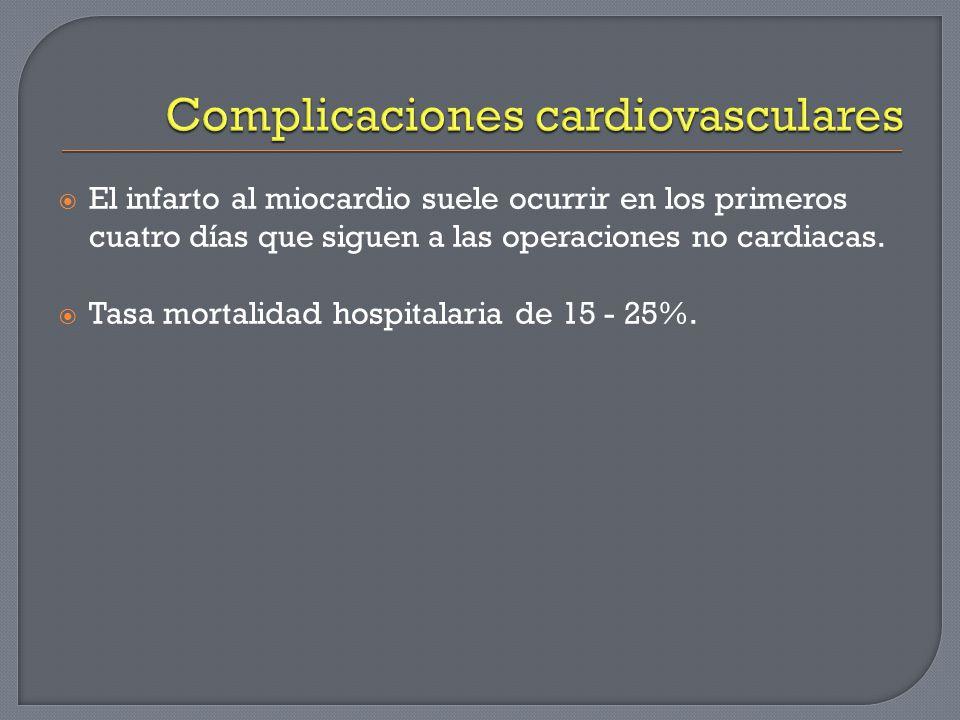 El infarto al miocardio suele ocurrir en los primeros cuatro días que siguen a las operaciones no cardiacas. Tasa mortalidad hospitalaria de 15 - 25%.
