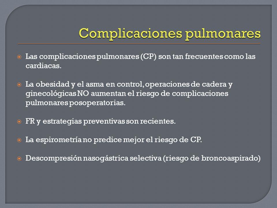 Las complicaciones pulmonares (CP) son tan frecuentes como las cardiacas. La obesidad y el asma en control, operaciones de cadera y ginecológicas NO a
