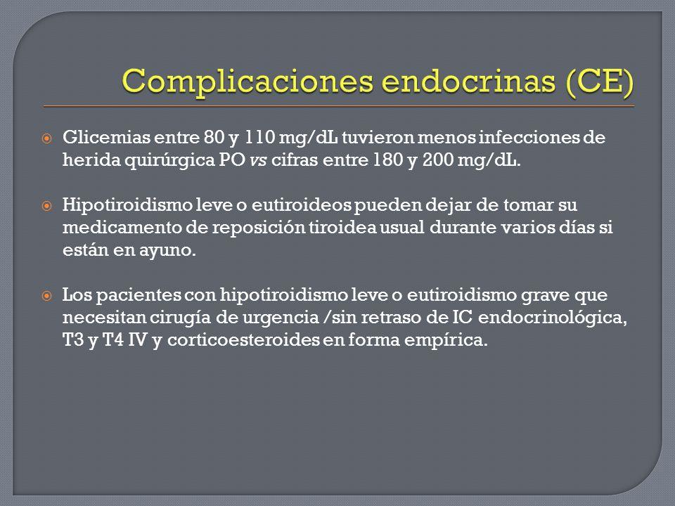 Glicemias entre 80 y 110 mg/dL tuvieron menos infecciones de herida quirúrgica PO vs cifras entre 180 y 200 mg/dL. Hipotiroidismo leve o eutiroideos p