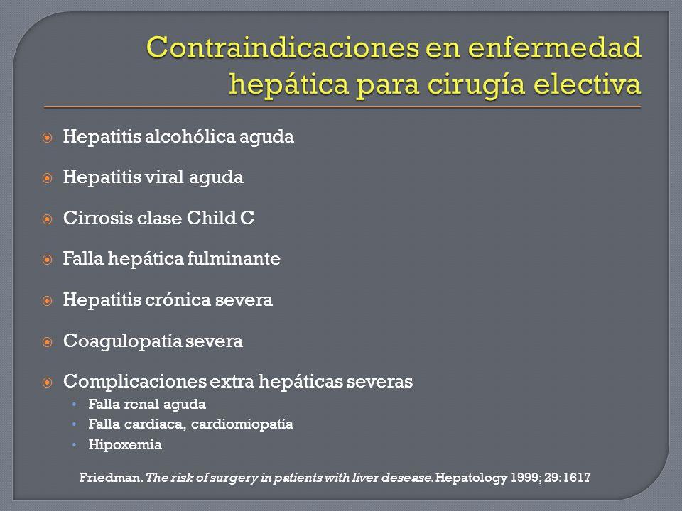 Hepatitis alcohólica aguda Hepatitis viral aguda Cirrosis clase Child C Falla hepática fulminante Hepatitis crónica severa Coagulopatía severa Complic