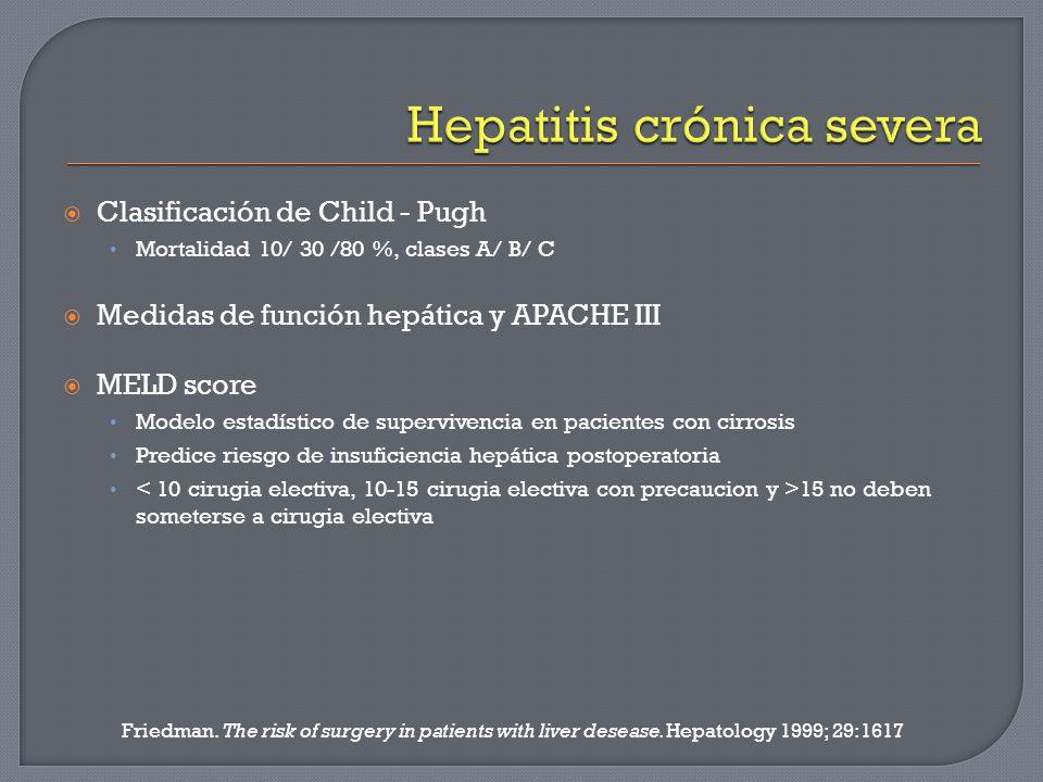 Clasificación de Child - Pugh Mortalidad 10/ 30 /80 %, clases A/ B/ C Medidas de función hepática y APACHE III MELD score Modelo estadístico de superv