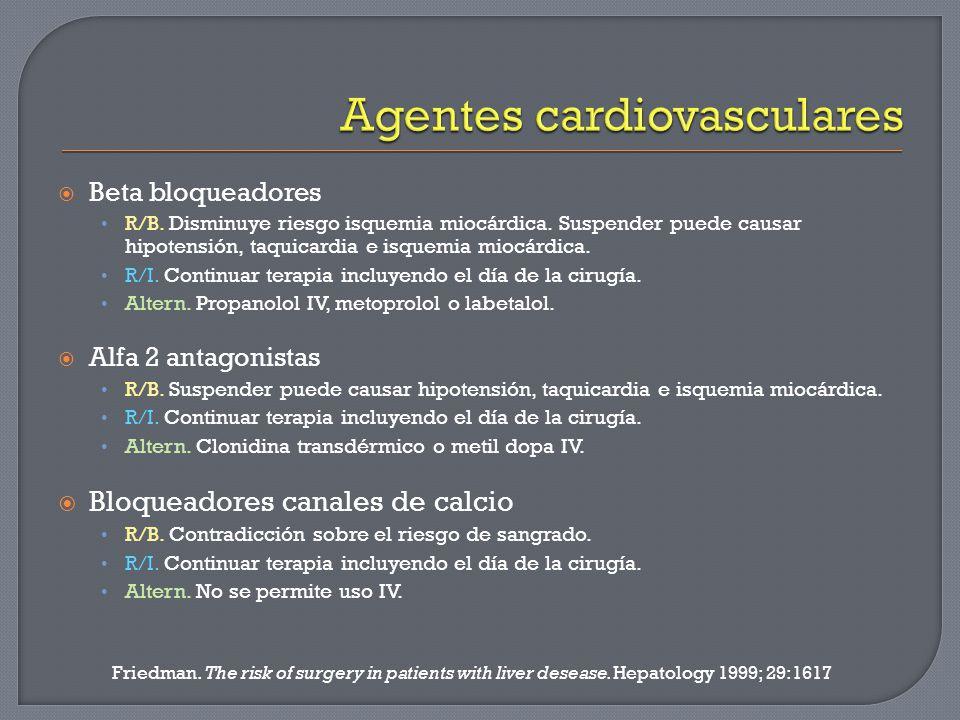 Beta bloqueadores R/B. Disminuye riesgo isquemia miocárdica. Suspender puede causar hipotensión, taquicardia e isquemia miocárdica. R/I. Continuar ter
