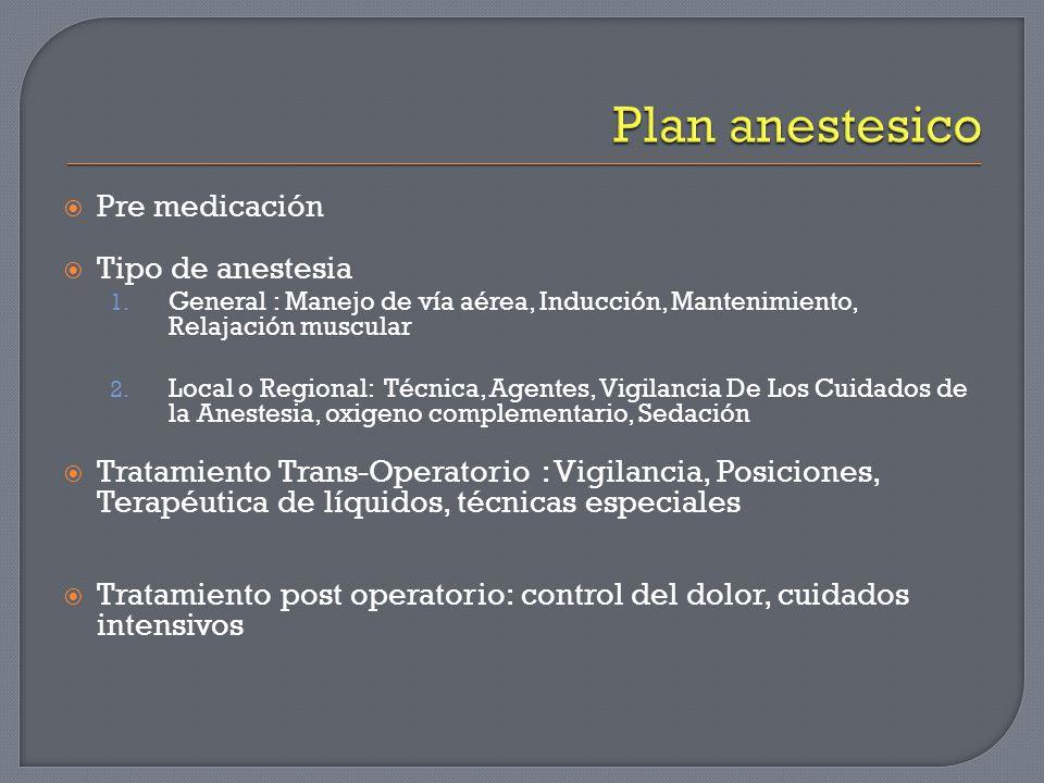 Pre medicación Tipo de anestesia 1. General : Manejo de vía aérea, Inducción, Mantenimiento, Relajación muscular 2. Local o Regional: Técnica, Agentes