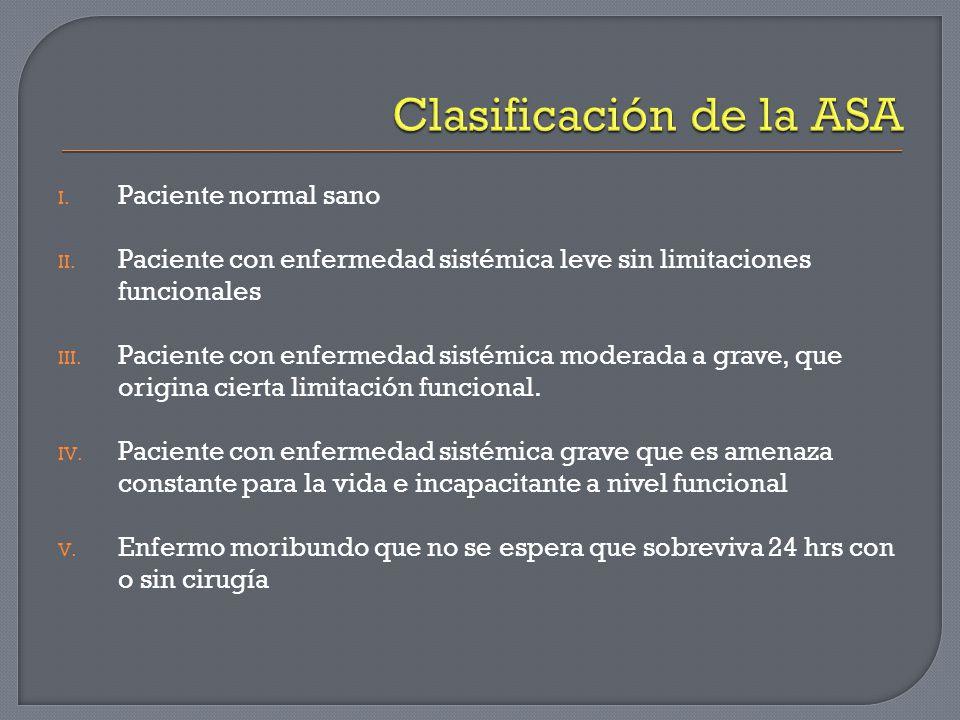 I. Paciente normal sano II. Paciente con enfermedad sistémica leve sin limitaciones funcionales III. Paciente con enfermedad sistémica moderada a grav