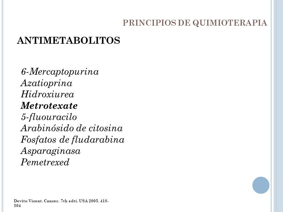 PRINCIPIOS DE QUIMIOTERAPIA ANTIMETABOLITOS 6-Mercaptopurina Azatioprina Hidroxiurea Metrotexate 5-fluouracilo Arabinósido de citosina Fosfatos de flu