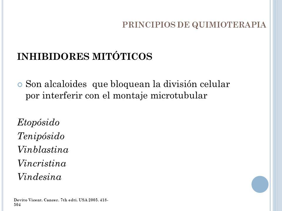 PRINCIPIOS DE QUIMIOTERAPIA INHIBIDORES MITÓTICOS Son alcaloides que bloquean la división celular por interferir con el montaje microtubular Etopósido