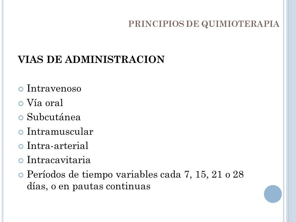 VIAS DE ADMINISTRACION Intravenoso Vía oral Subcutánea Intramuscular Intra-arterial Intracavitaria Períodos de tiempo variables cada 7, 15, 21 o 28 dí