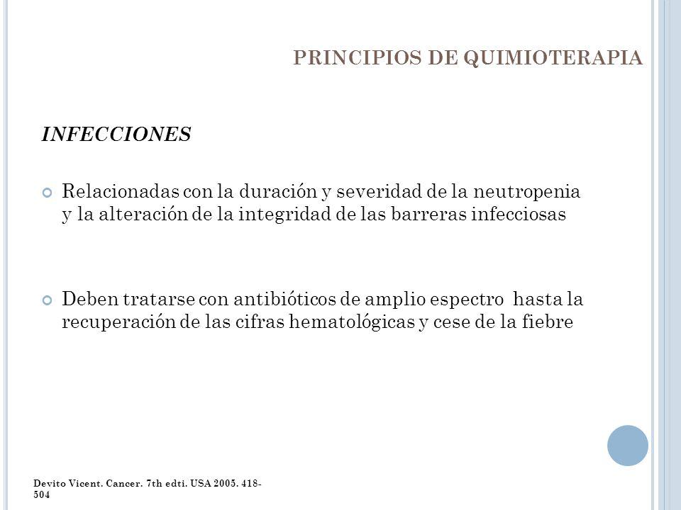 PRINCIPIOS DE QUIMIOTERAPIA INFECCIONES Relacionadas con la duración y severidad de la neutropenia y la alteración de la integridad de las barreras in