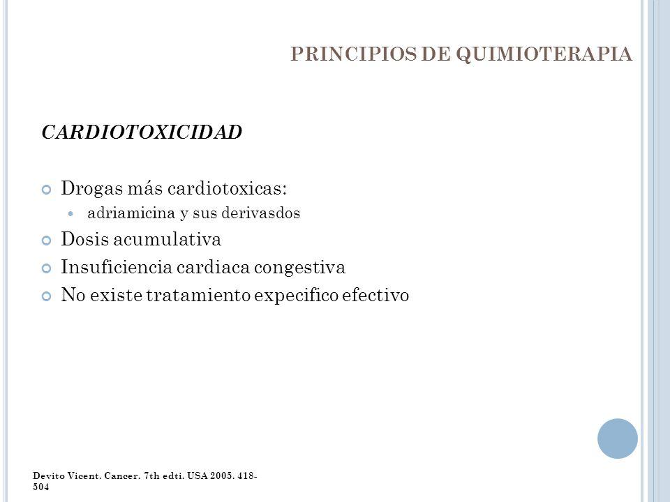 PRINCIPIOS DE QUIMIOTERAPIA CARDIOTOXICIDAD Drogas más cardiotoxicas: adriamicina y sus derivasdos Dosis acumulativa Insuficiencia cardiaca congestiva