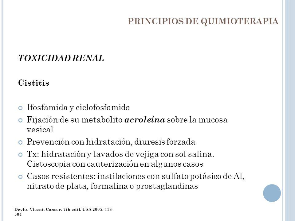 PRINCIPIOS DE QUIMIOTERAPIA TOXICIDAD RENAL Cistitis Ifosfamida y ciclofosfamida Fijación de su metabolito acroleína sobre la mucosa vesical Prevenció