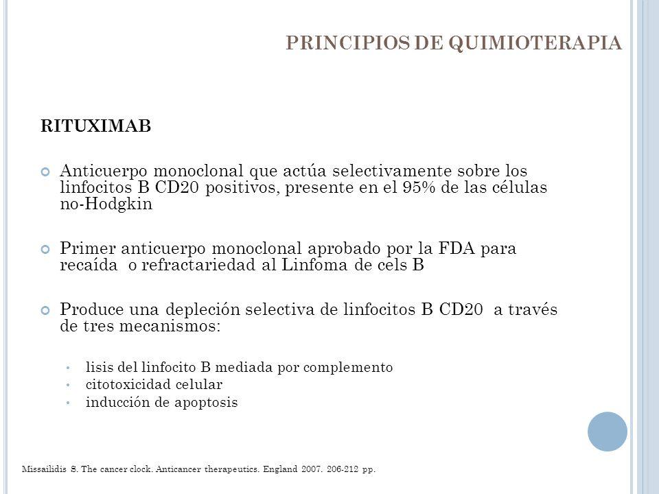 PRINCIPIOS DE QUIMIOTERAPIA RITUXIMAB Anticuerpo monoclonal que actúa selectivamente sobre los linfocitos B CD20 positivos, presente en el 95% de las
