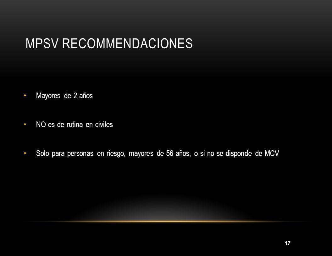 18 MCV RECOMMENDACIONES De rutina para: Niños de 11-18años.