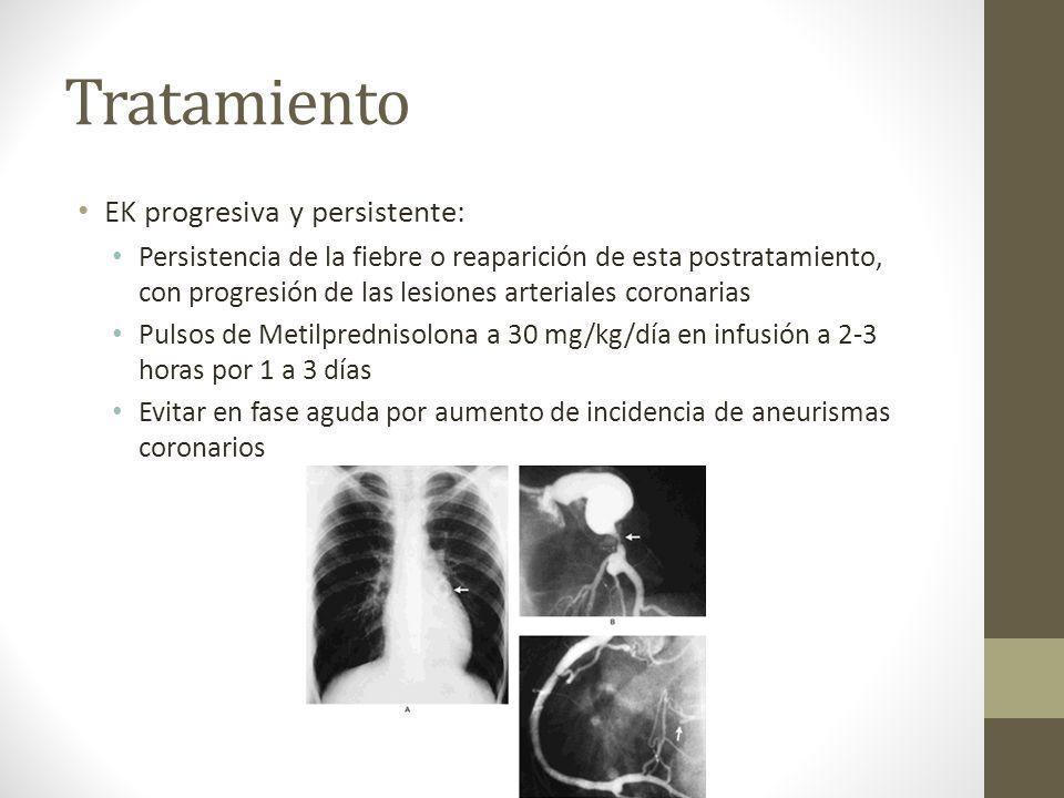 Tratamiento EK progresiva y persistente: Persistencia de la fiebre o reaparición de esta postratamiento, con progresión de las lesiones arteriales cor