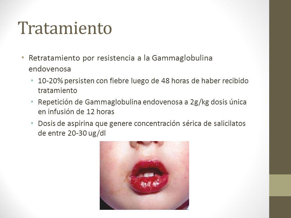 Tratamiento Retratamiento por resistencia a la Gammaglobulina endovenosa 10-20% persisten con fiebre luego de 48 horas de haber recibido tratamiento R
