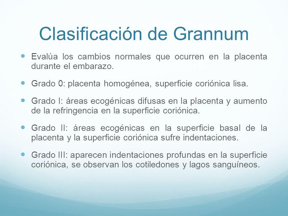 Clasificación de Grannum Evalúa los cambios normales que ocurren en la placenta durante el embarazo.