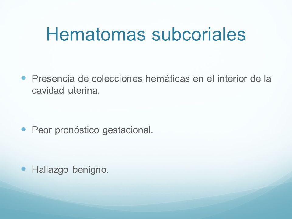 Hematomas subcoriales Presencia de colecciones hemáticas en el interior de la cavidad uterina.