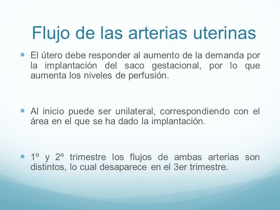 Flujo de las arterias uterinas El útero debe responder al aumento de la demanda por la implantación del saco gestacional, por lo que aumenta los niveles de perfusión.