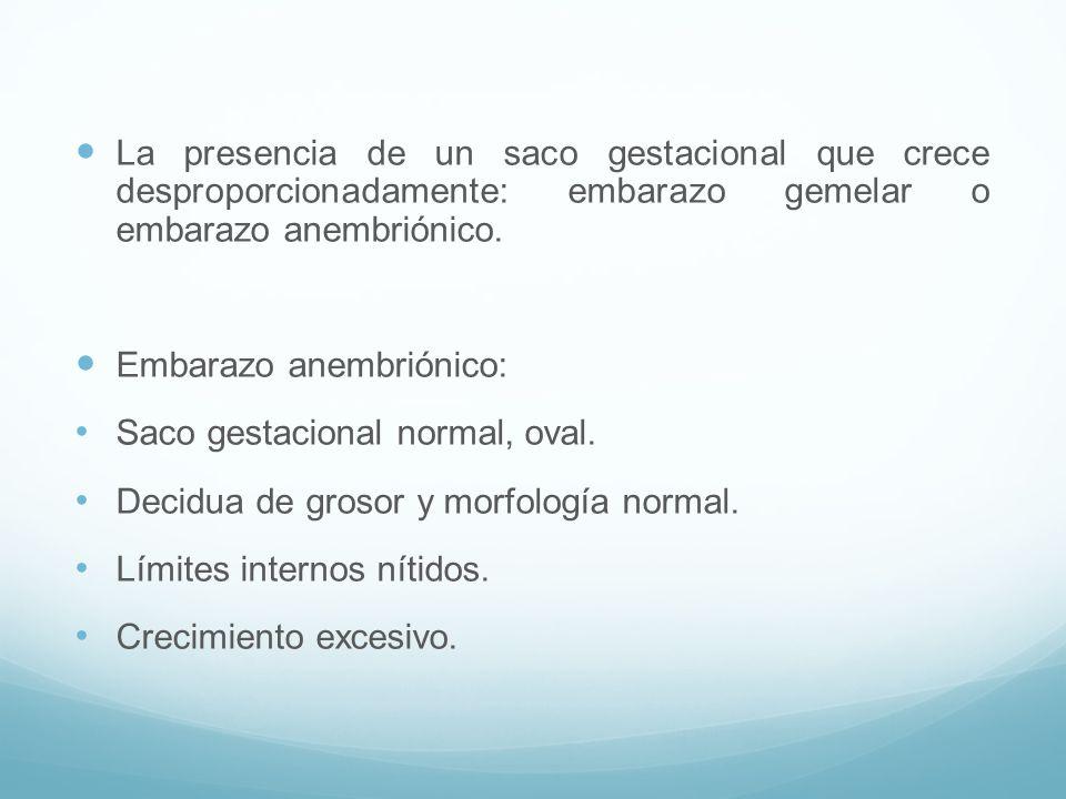 La presencia de un saco gestacional que crece desproporcionadamente: embarazo gemelar o embarazo anembriónico.