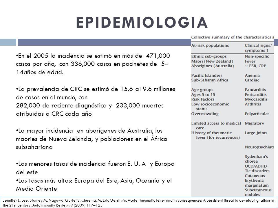 EPIDEMIOLOGIA En el 2005 la incidencia se estimó en más de 471,000 casos por año, con 336,000 casos en pacinetes de 5– 14años de edad. La prevalencia