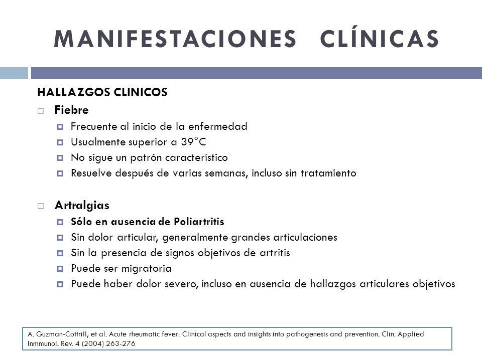MANIFESTACIONES CLÍNICAS HALLAZGOS CLINICOS Fiebre Frecuente al inicio de la enfermedad Usualmente superior a 39°C No sigue un patrón característico R