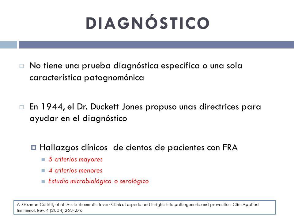 DIAGNÓSTICO No tiene una prueba diagnóstica especifica o una sola característica patognomónica En 1944, el Dr. Duckett Jones propuso unas directrices