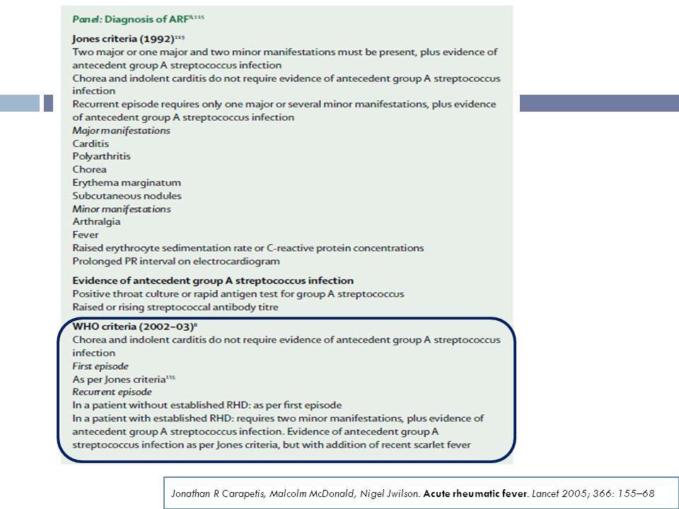 Jonathan R Carapetis, Malcolm McDonald, Nigel Jwilson. Acute rheumatic fever. Lancet 2005; 366: 155–68