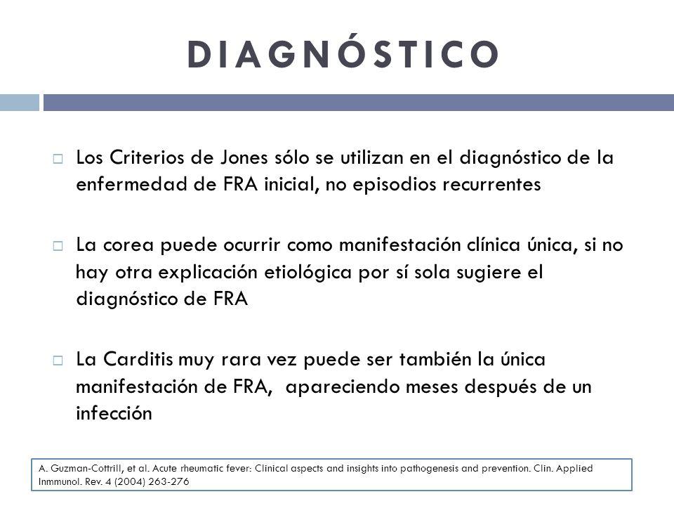 DIAGNÓSTICO Los Criterios de Jones sólo se utilizan en el diagnóstico de la enfermedad de FRA inicial, no episodios recurrentes La corea puede ocurrir