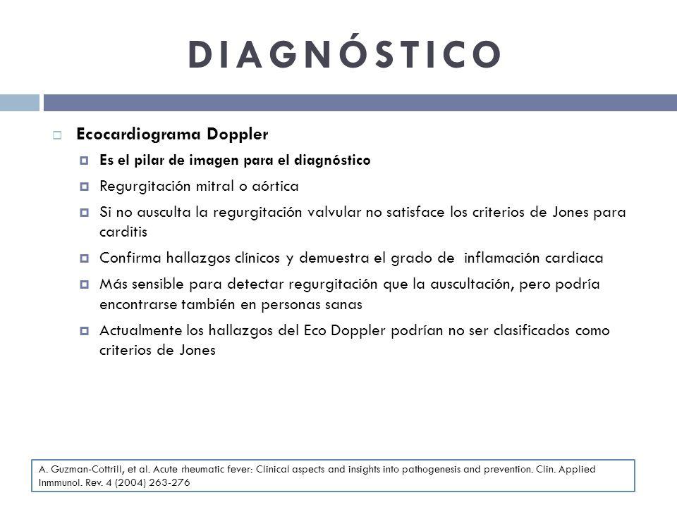 DIAGNÓSTICO Ecocardiograma Doppler Es el pilar de imagen para el diagnóstico Regurgitación mitral o aórtica Si no ausculta la regurgitación valvular n