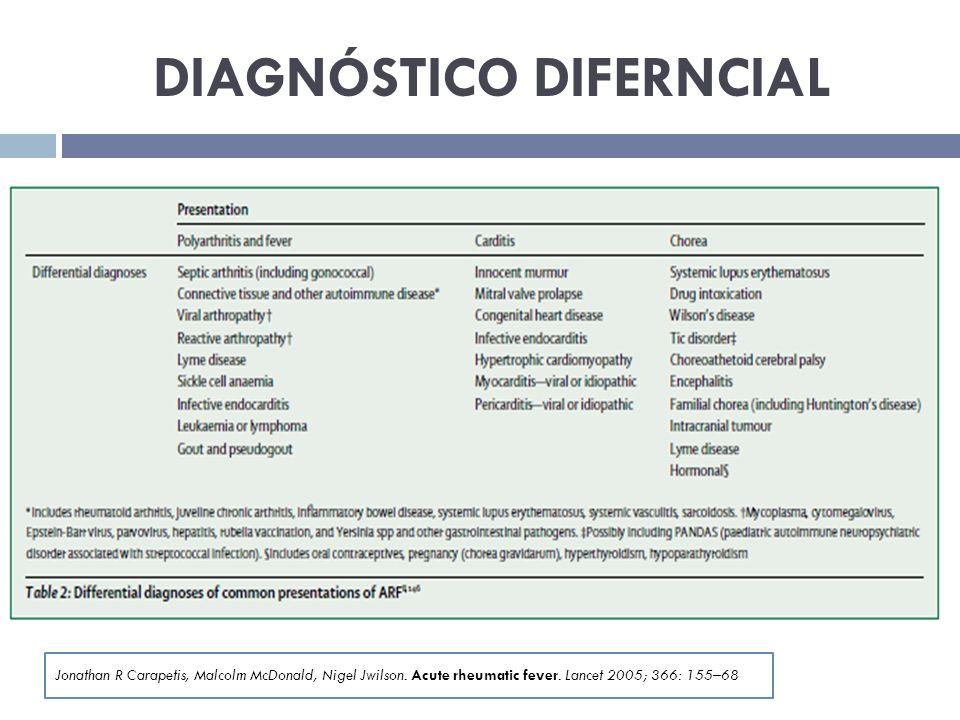 DIAGNÓSTICO DIFERNCIAL Jonathan R Carapetis, Malcolm McDonald, Nigel Jwilson. Acute rheumatic fever. Lancet 2005; 366: 155–68