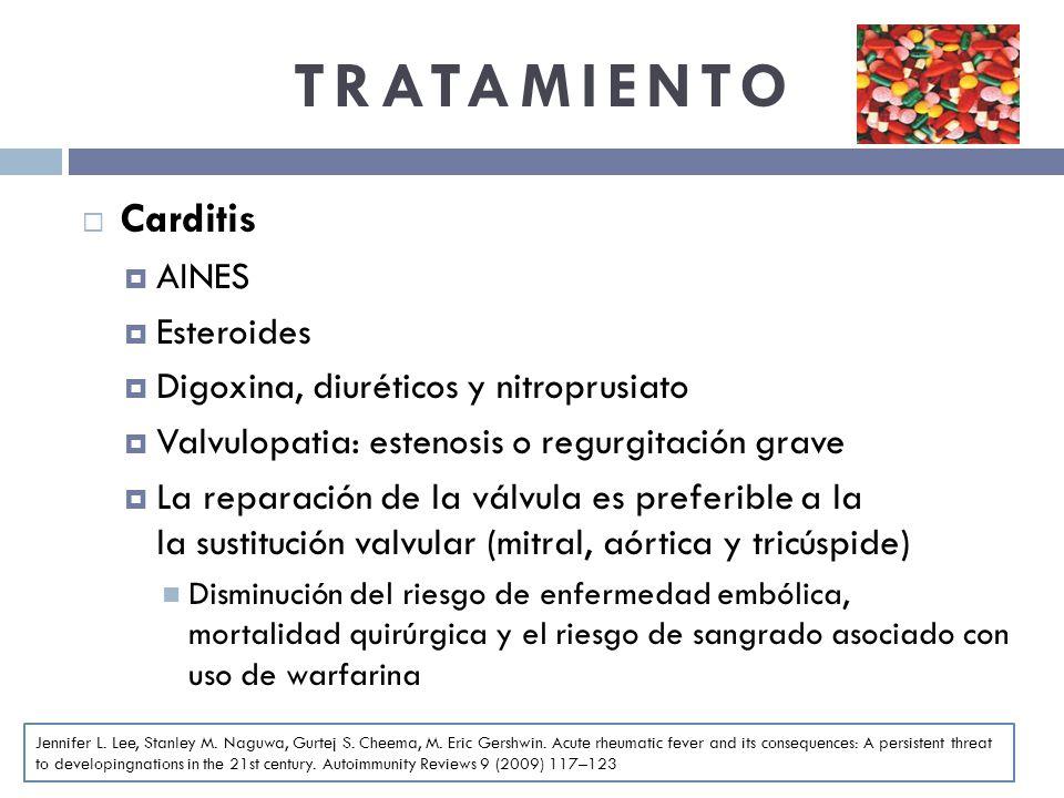 TRATAMIENTO Carditis AINES Esteroides Digoxina, diuréticos y nitroprusiato Valvulopatia: estenosis o regurgitación grave La reparación de la válvula e