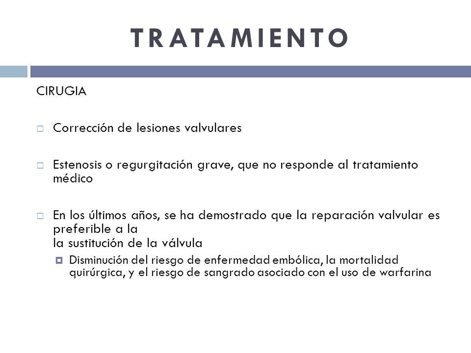 TRATAMIENTO CIRUGIA Corrección de lesiones valvulares Estenosis o regurgitación grave, que no responde al tratamiento médico En los últimos años, se h