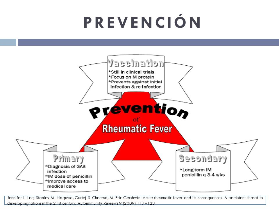 PREVENCIÓN Jennifer L. Lee, Stanley M. Naguwa, Gurtej S. Cheema, M. Eric Gershwin. Acute rheumatic fever and its consequences: A persistent threat to