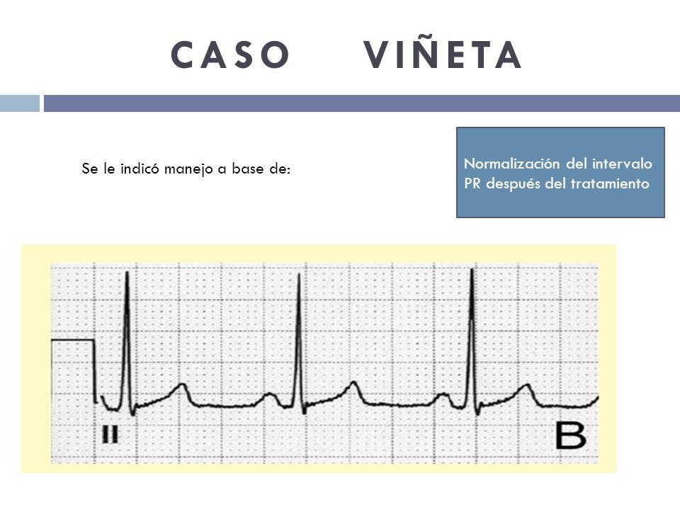 CASO VIÑETA Normalización del intervalo PR después del tratamiento Se le indicó manejo a base de:
