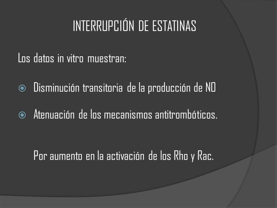 INTERRUPCIÓN DE ESTATINAS Los datos in vitro muestran: Disminución transitoria de la producción de NO Atenuación de los mecanismos antitrombóticos.