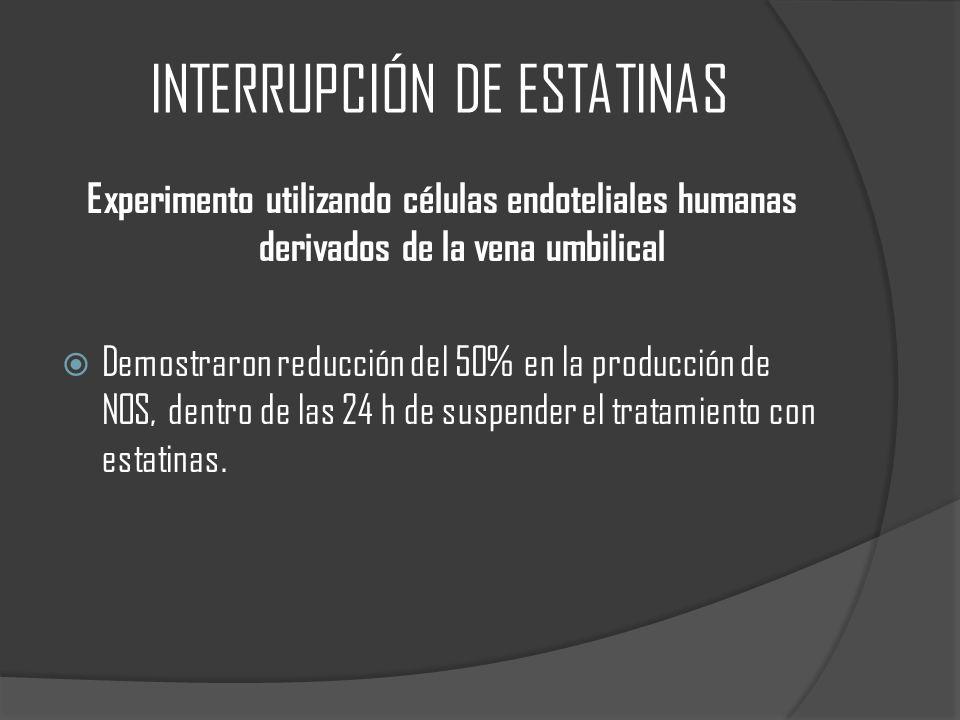 INTERRUPCIÓN DE ESTATINAS Experimento utilizando células endoteliales humanas derivados de la vena umbilical Demostraron reducción del 50% en la produ