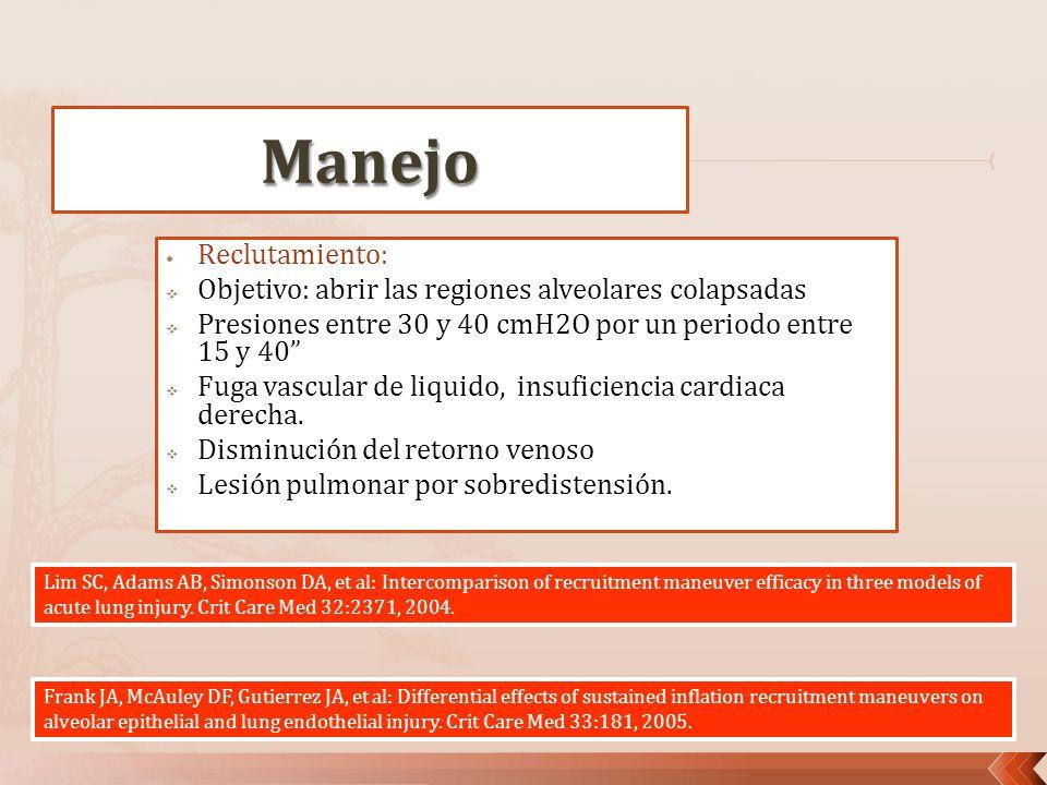 Reclutamiento: Objetivo: abrir las regiones alveolares colapsadas Presiones entre 30 y 40 cmH2O por un periodo entre 15 y 40 Fuga vascular de liquido,