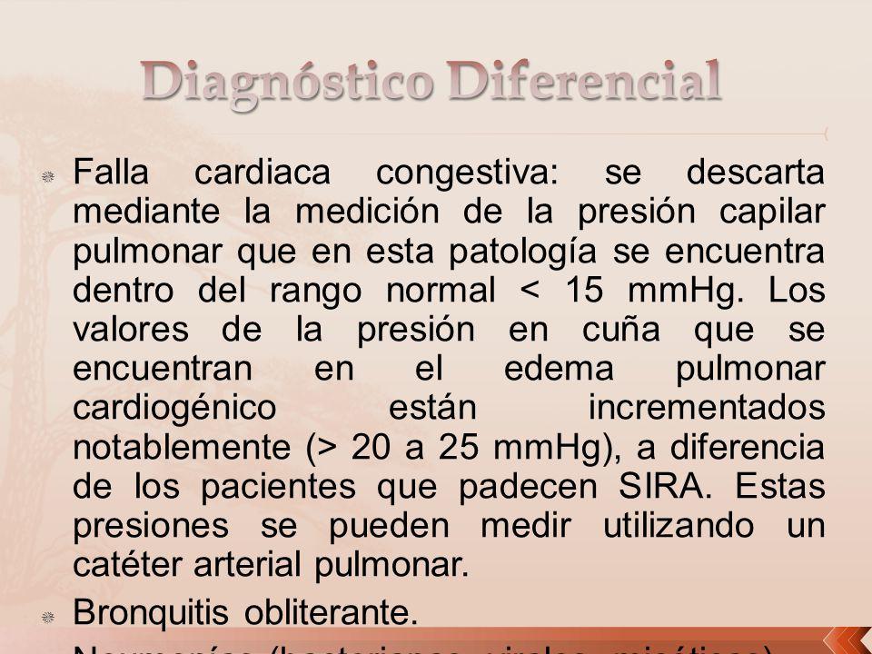 Falla cardiaca congestiva: se descarta mediante la medición de la presión capilar pulmonar que en esta patología se encuentra dentro del rango normal
